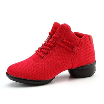 Dance Shoes Woman Spring Ladies Latin Jazz Shoes Mesh Modern Dancing Shoes Autumn Square Heels Sneakers Women Zapatos Mujer