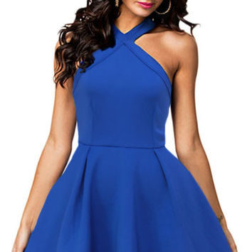 Royal Blue Mini Skater Dress