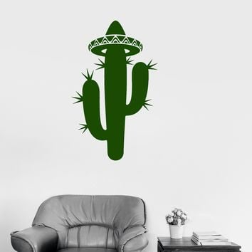 Vinyl Decal Cactus Sombrero Latin America Mexico Room Decor Wall Stickers Unique Gift (ig2669)