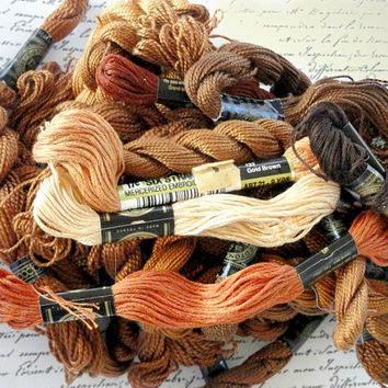 Embroidery Floss, Brown, Rust, Orange, Vintage Sewing Notions, Craft Supply Destash