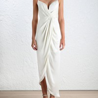Sueded Silk Plunge Long Dress