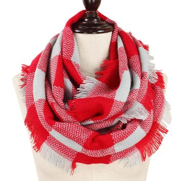 Red and Gray Buffalo Plaid Woven Infinity Scarf