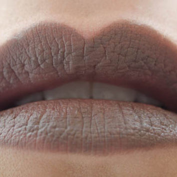 Goodness Graycious : a bold, semi-matte, opaque, vegan, gray grey brown neutral lipstick