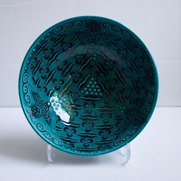 Turquoise Design Hand Made Ceramic Bowl, Home Decoration, Decorative Bowl, Serving Bowl, Tableware,Housewarming gift, Hand Painted Pottery.
