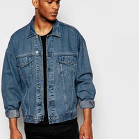 ASOS | ASOS Oversized Denim Jacket In Dark Blue Wash at ASOS