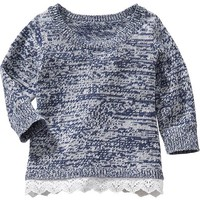 Lace-Trim Marled Sweaters for Baby