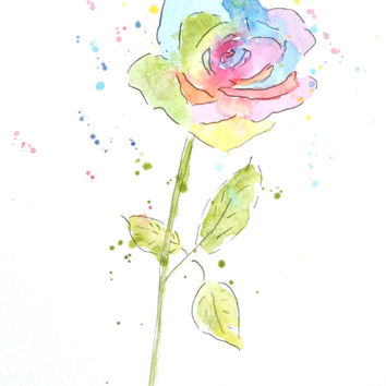 Rainbow Rose Watercolor Painting – Original Watercolor Art, Nursery, Wall Decor,  Home Decor, Flower Paintings - by MABartStudio