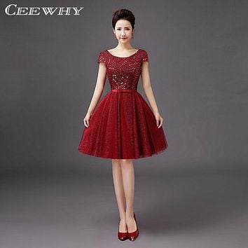 Sequined Short Sleeve A-Line Women Evening Party Dresses Knee-Length robe de Cocktail Dresses Summer Dresses Wine Red,Red,Blue