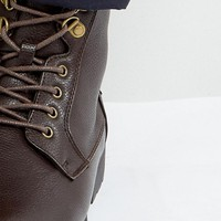 ASOS Work Boots In Brown Faux Leather at asos.com
