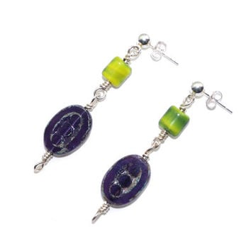 Colorful Glass Earrings – Czech Glass Double Drop Post Dangle Earrings – Geometric Jewelry – Birthday Gift for Her