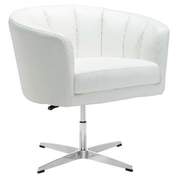 Wilshire Occasional Chair Vintage Distressed White Faux Leather