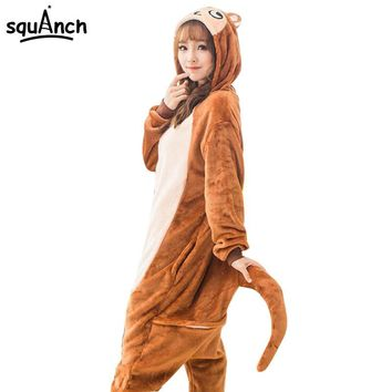 Women Onesuit Animal Pajama Brown Monkey Pajamas Party Jumpsuit Female Adult Cartoon Characters Costume Winter Soft Warm Outfit