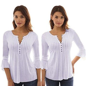 iLH® Clearance Blouse,ZYooh Autumn Women V-Neck Lace Stitching 3/4 Flare Sleeve Buttons Tunic Tops Daily Wear