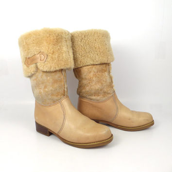 Shearling Leather Boots Vintage 1970s Blondo Tan brown Cowboy Boots Women's  size 7