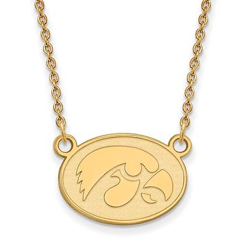 NCAA 10k Yellow Gold U of Iowa Small Hawkeye Disc Pendant Necklace