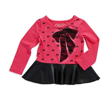 Flapdoodles Girls 2-6x Bow Accented Peplum Top