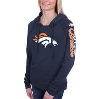 Women's Denver Broncos 5th and Ocean by New Era Navy Blue Snap Count Pullover Hoodie