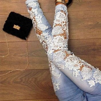 DCCK7XP Fashion Women Sexy Denim Light Blue Skinny Jeans Crochet Lace Party Pants
