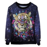 Ninimour- Women's Digital Print Pullovers Sweatershirts (Tiger)