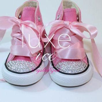 DCCK1IN converse chucks high tops w swarovski crystals pink white size 2 10 infant