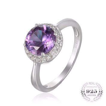 Halo Created Alexandrite Sapphire Ring 925 Sterling Silver