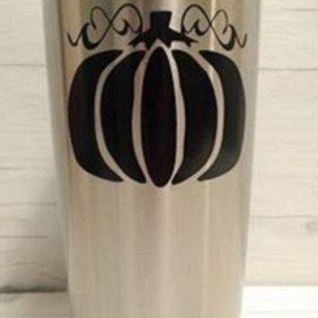 Cute Pumpkin Yeti Decal, Yeti Rambler Decal, Yeti Tumbler Decal, Ozark Tumbler Decal, Wall Vinyl Decal, Ozark Trail Decal, RTIC