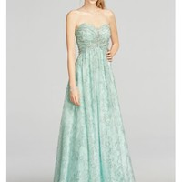 Strapless Glitter Tulle Prom Dress with Beading - Davids Bridal