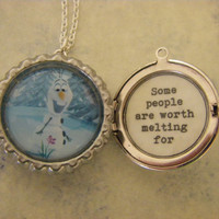 Frozen Olaf Locket Necklace some people are worth melting for quote inside gift for her teen child