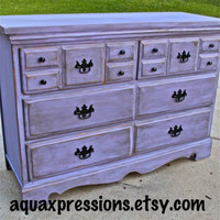 Lilac Purple Vintage Dresser/ Buffet/ Bedroom Furniture/ Distressed /Black Drawer Pulls/ TV Stand/ Storage/ Dining Room Furniture