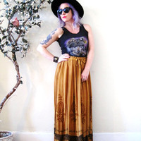 vintage 90's embroidered rayon Indian maxi skirt / 90s does 70s / drawstring high waist / festival boho hippie gypsy Stevie Nicks