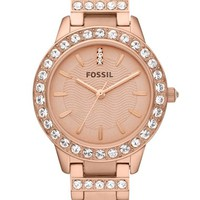 Women's Fossil 'Jesse' Crystal Embellished Bracelet Watch, 34mm - Rose Gold