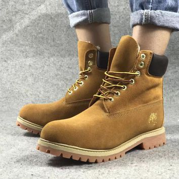 PEAPON Timberland Rhubarb Boots Plush Yellow Waterproof Martin Boots