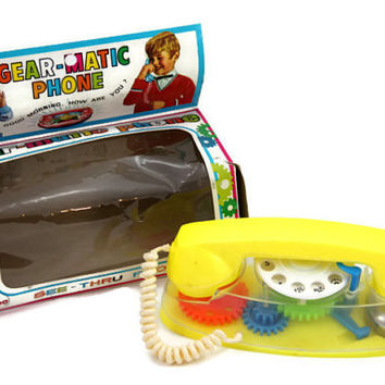 Plastic Gear-matic Toy Rotary Phone, See-Thru Toy Phone, 1970s Toy