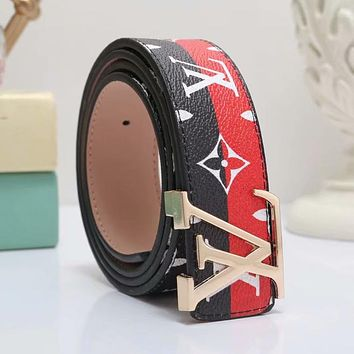 LV Louis Vuitton Fashion Woman Men Smooth Buckle Belt Print Leather Belt Black/Red I-WMXB-PFSH