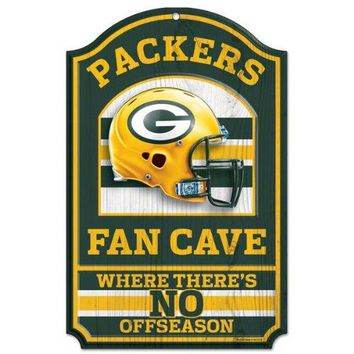 Green Bay Packers No Offseason 11x17 Wood Fan Sign