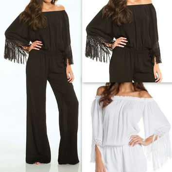Eliza Bella for Elan Off Shoulder Fringe Trimmed Palazzo Pant Jumpsuit SML