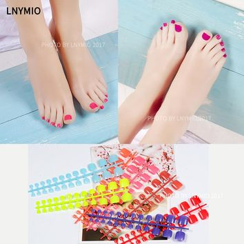2016 Foot  false nail  fake nails ,  colorful   24 pcs/ set  fashion false nail for summer green black white