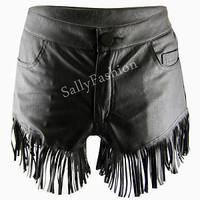 Leather Look Shorts High Waisted Tassel Hot Pant  Matte PU Knickers Size 8-14