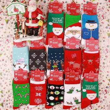 Funny Ugly Christmas Socks for Women and Men Cute Girls and Man Xmas Holiday Sox Elk Reindeer Santa Claus Printed