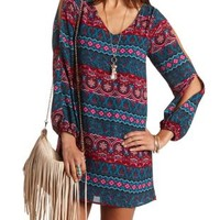 Boho Print Cold Shoulder Shift Dress - Dark Teal Combo