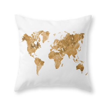 Society6 World Map In Wat Throw Pillow