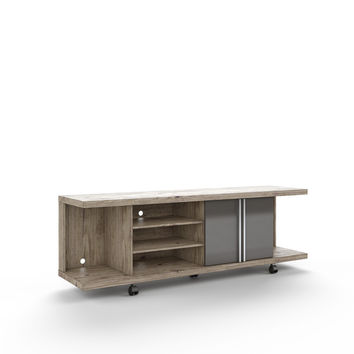 Carnegie TV Stand in Natue and Onyx