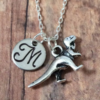 Tyrannosaurus rex initial necklace - dinosaur jewelry, T-rex necklace, paleontology necklace, trex jewelry, silver dinosaur necklace