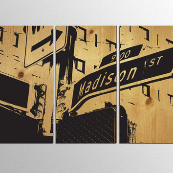 Seattle Madison Street Sign - Modern Travel Poster Black Silhouette on Natural Wood Panels