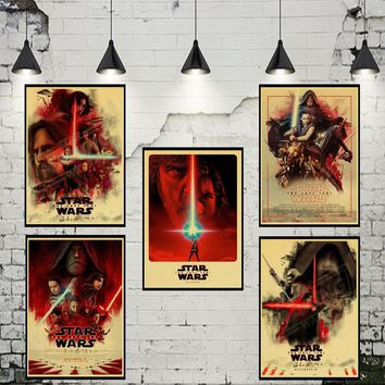 Star Wars:The Last Jedi Kraft Paper Poster Bar Cafe Vintage High quality Printing Drawing core Decorative Painting wall sticker