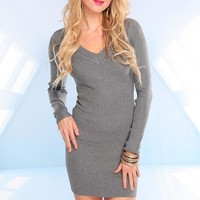 Grey Long Sleeve Knit Dress with V-Neckline