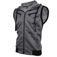Allegra K Men Zip Up Hoodies Kangaroo Pocket Hoodie Casual Hooded Vest