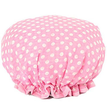 Moolecole Women Polka Dots Waterproof Shower Cap Double Layer Bathing Cap Elastic Band Spa Shower Hat Pink