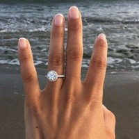 Women Engagement Ring Silver Plated Zirconia Ring Wedding Female Jewelry SZ 6-10