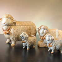 Otagiri 1983 Adorable Lamb Sheep Ewe Cookie Jar, Napkin Holder, Cream and Sugar Bowl, Japan